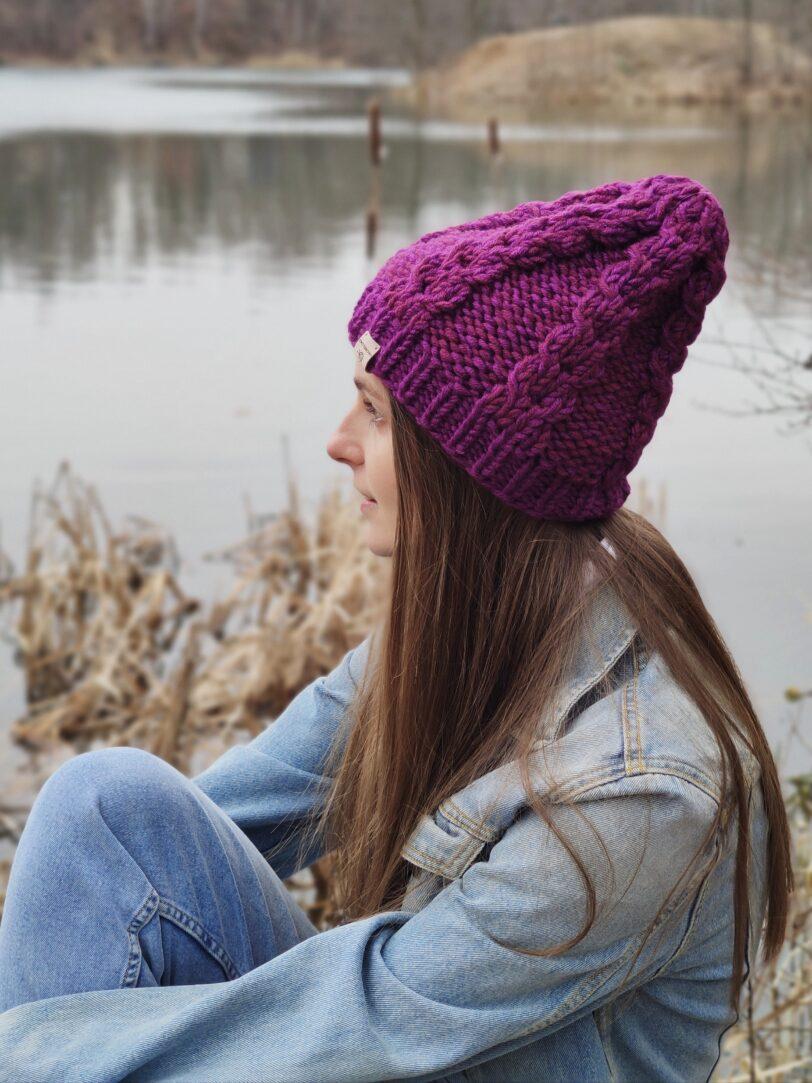 czapka na drutach handmade fioletowa