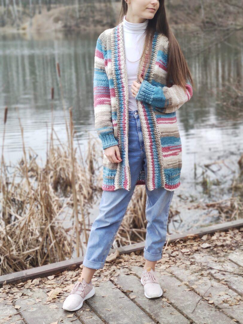 pastelowy cardigan handmade